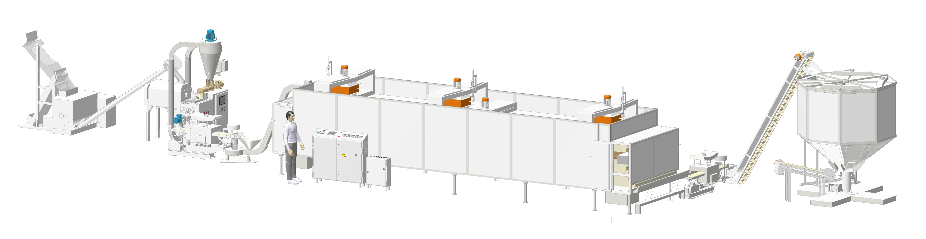 Automatic pasta line with the capacity of 150 kg/hr with the conveyor drying complex