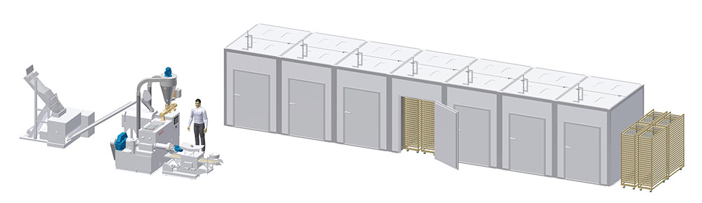 Pasta line capacity of 250 kg/hr with the cabinet-type drying chamber