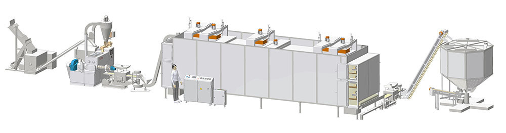 Pasta line with the capacity up to 300 kg/hr with the conveyor drying complex