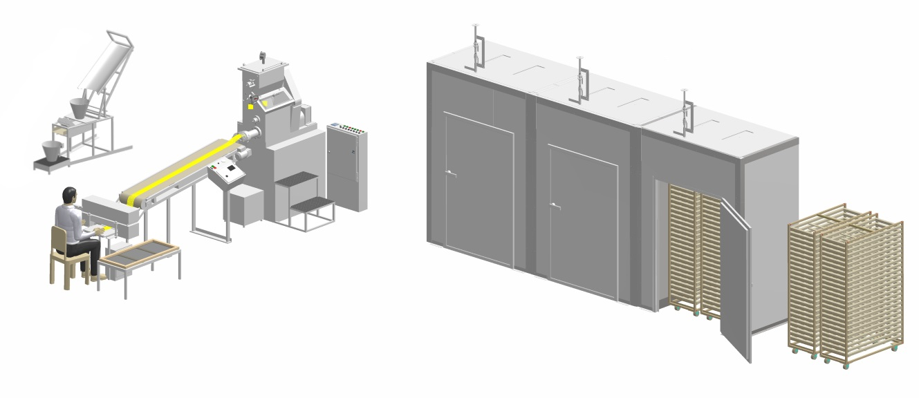 Universal line for the production of the gluten free pasta with capacity up to 30 kg/h