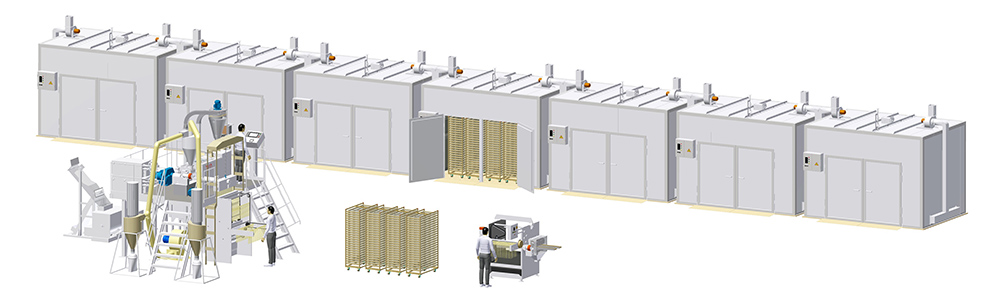 Universal complex for the spaghetti production 250 kg/h and short-cut pasta production with the capacity of 300 kg/h